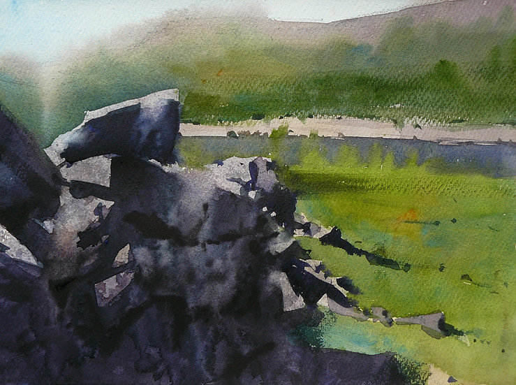 Wall in foreground, glimpse of water and hills beyond, Painting by Paul Talbot-Greaves