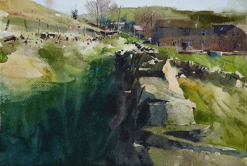 Walls and lane leading to building. Greetings card by Paul Talbot-Greaves