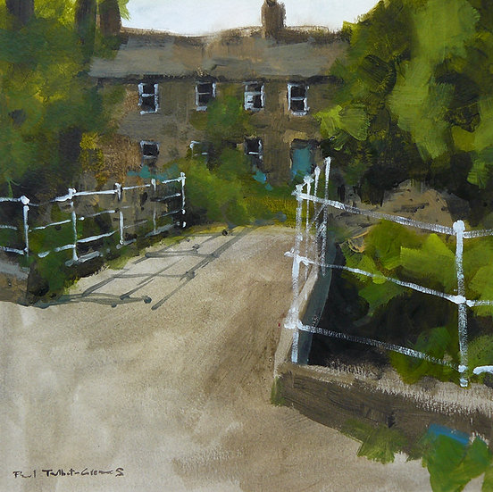 Bridge leading to Yorkshire cottages. Painting by Paul Talbot-Greaves