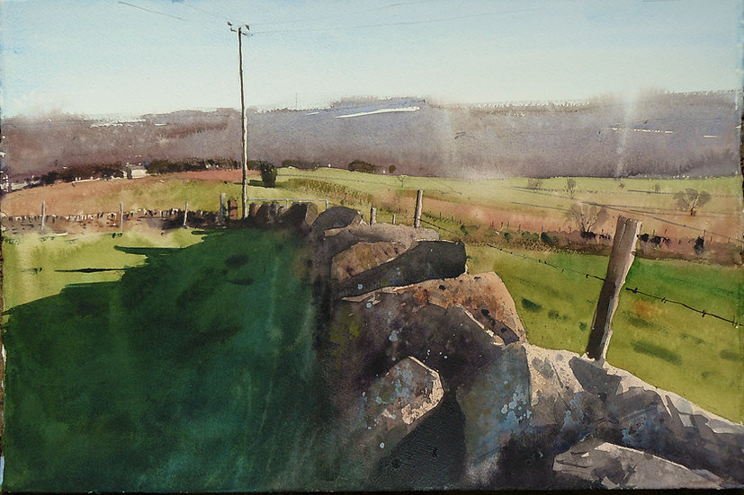 View across fields to distant hills. Painting by Paul Talbot-Greaves