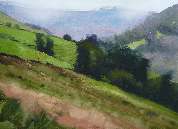 Sloping hillside with trees and distant view. Painting by Paul Talbot-Greaves