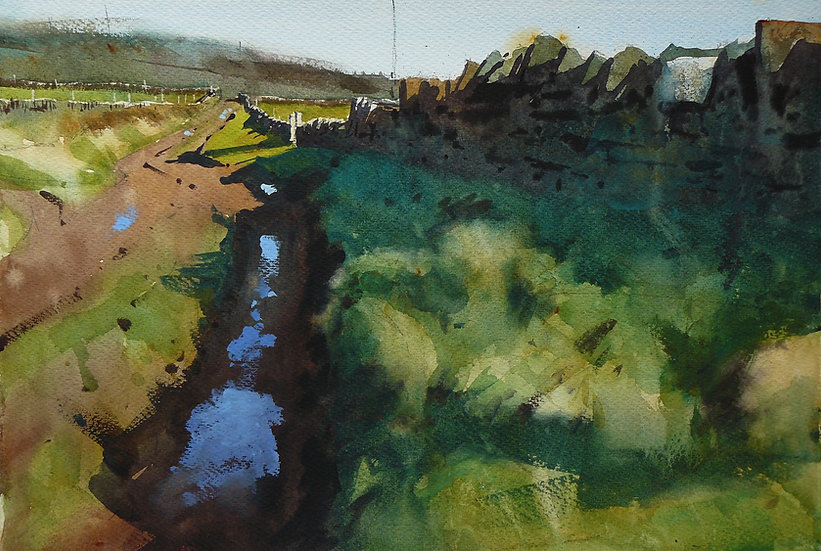 Winding lane and wall. Reflections from puddles. Painting by Paul Talbot-Greaves