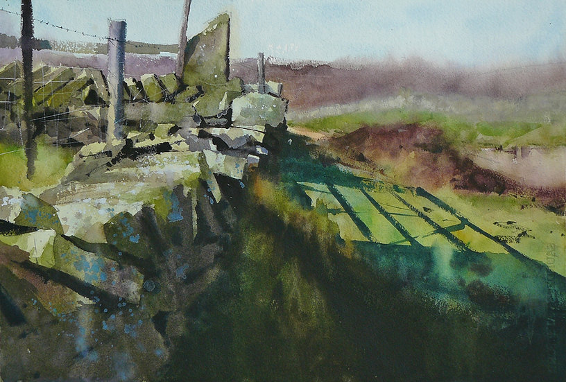 Rugged wall with hidden gate and cast shadows. Painting by Paul Talbot-Greaves