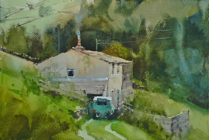 Farm building on steep green slope, woodland behind. Painting by Paul Talbot-Greaves