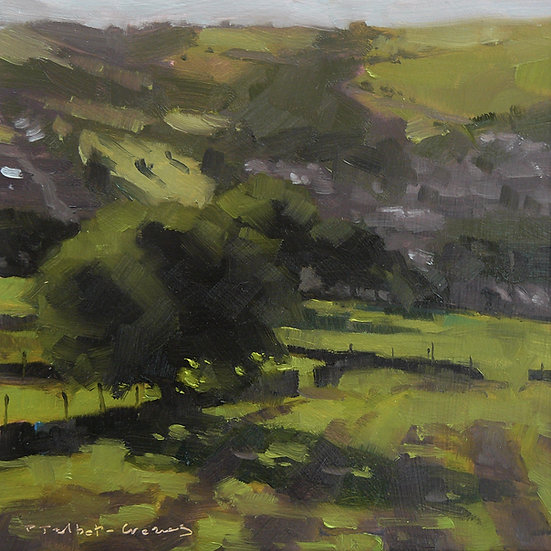 Summer field and trees with village in distance. Painting by Paul Talbot-Greaves