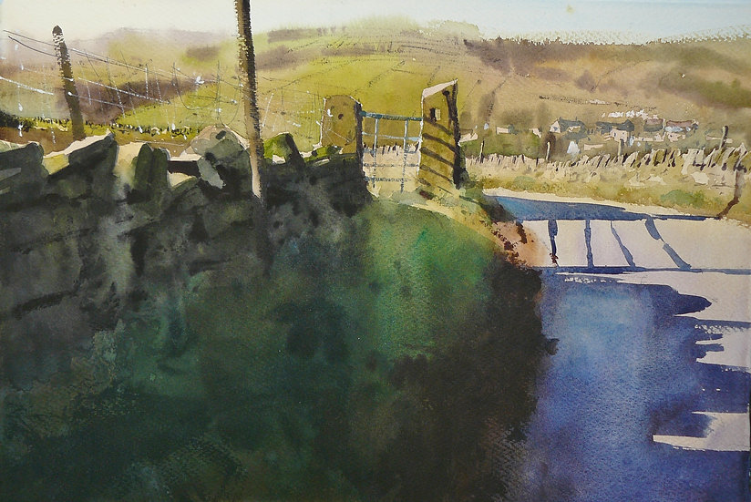 Old gate, shadows and village beyond. Greetings card by Paul Talbot-Greaves