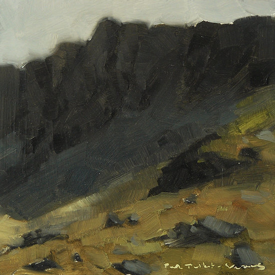 Dark mountain face with lit slopes in front. Painting by Paul Talbot-Greaves