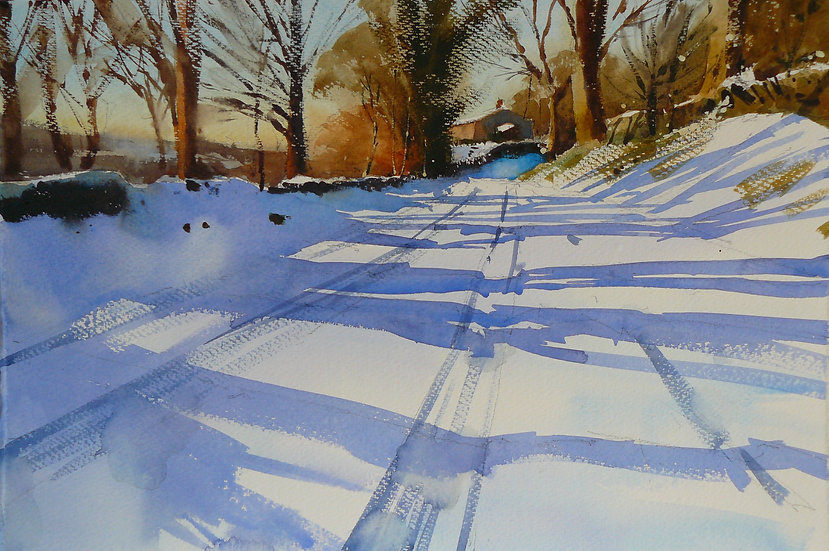 Painting by Paul Talbot-Greaves of a snow scene. Blue shadows are cast across a road from gold, sunlit trees.