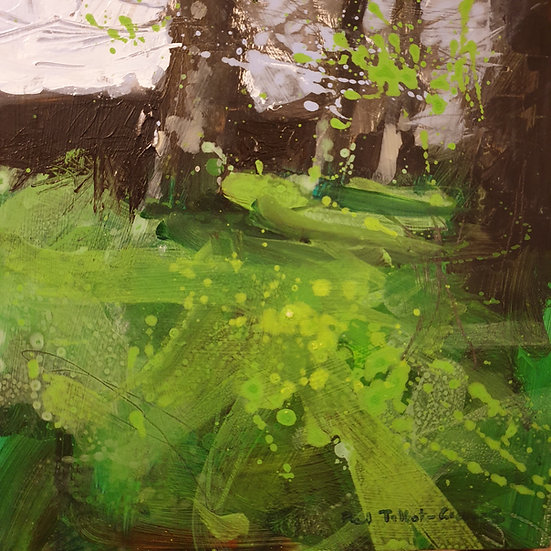 Lively shapes of spring trees and fresh grass. Painting by Paul Talbot-Greaves