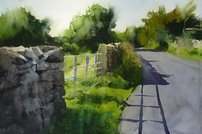 A summer scene of greens with a lane winding through the picture. Painting by Paul Talbot-Greaves