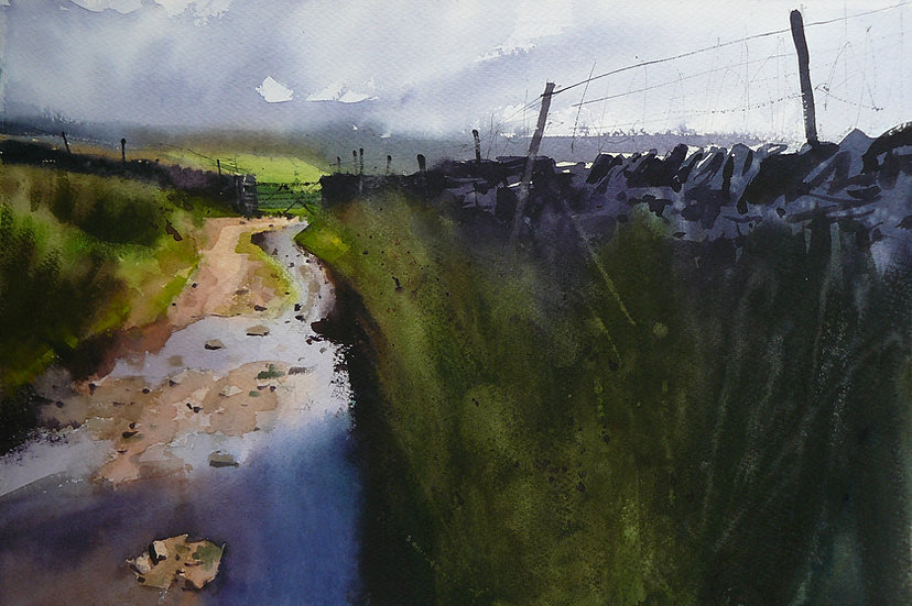 Atmospheric sky, fleeting light and puddles. Painting by Paul Talbot-Greaves