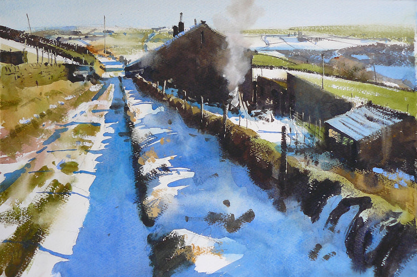 Melting snow with patchy landscape and building. Painting by Paul Talbot-Greaves