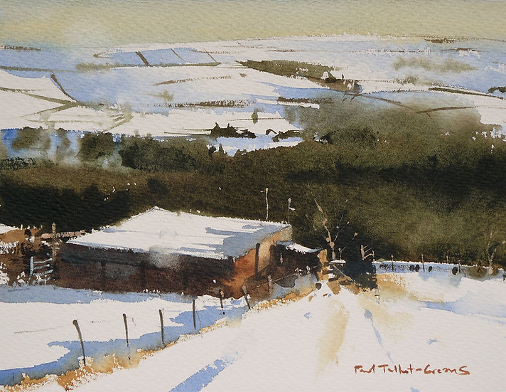 Barn in snow, hills beyond. Painting by Paul Talbot-Greaves