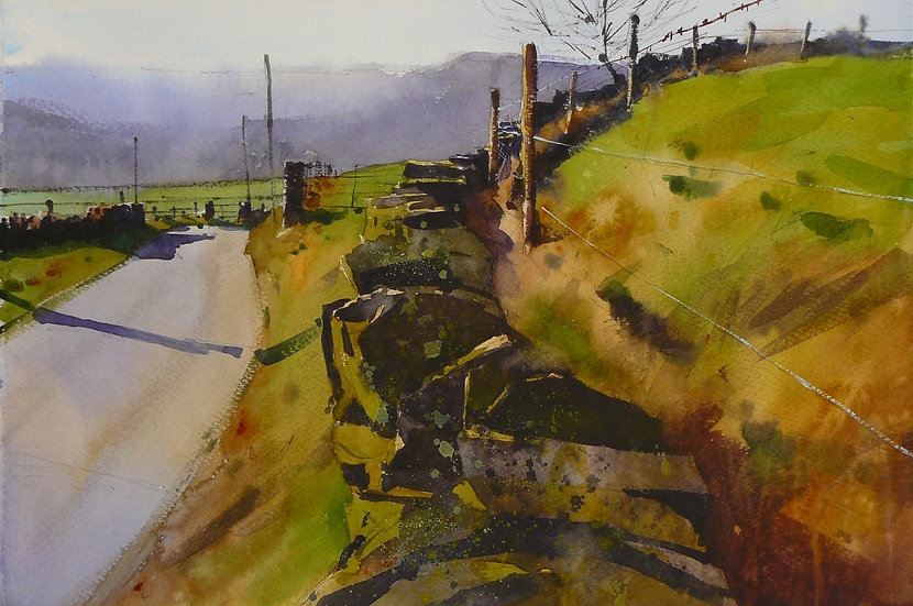 A view from the roadside across a valley towards distant hills. Painting by Paul Talbot-Greaves