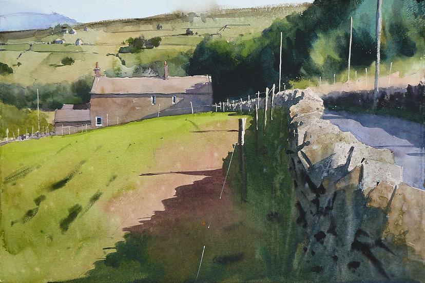 Summer scene, green paddock with building and distant hill. Painting by Paul Talbot-Greaves