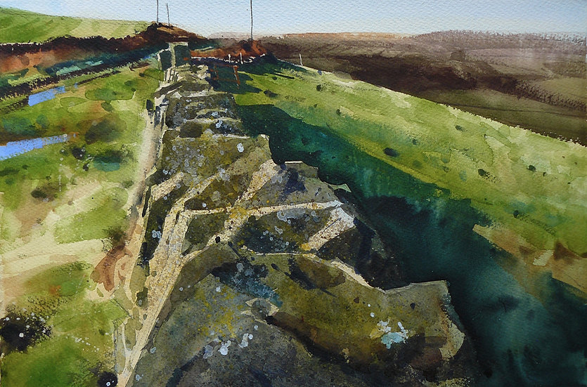 Top stones along a wall. Reflected light in puddles. Painting by Paul Talbot-Greaves