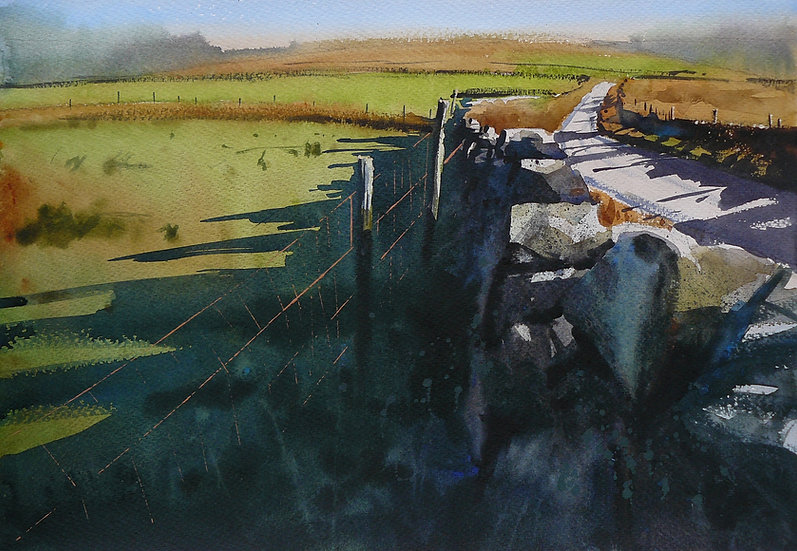 Open moorland with road crossing and shadows from a wall. Painting by Paul Talbot-Greaves