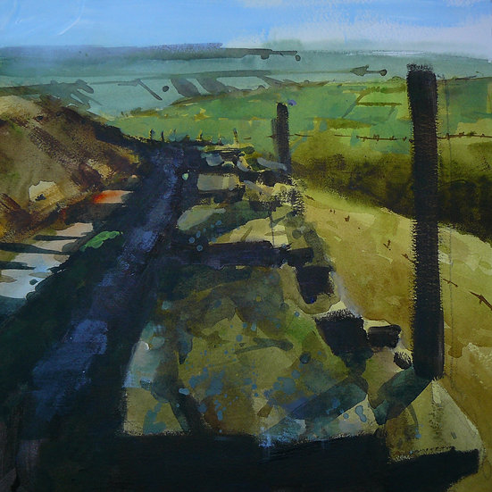 Lane on the edge of a valley. Distant hills in background. Painting by Paul Talbot-Greaves