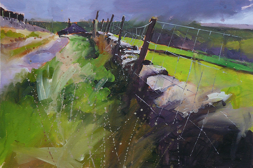 Painting by Paul Talbot-Greaves of atmospheric sky with light streaking across  the landscape.