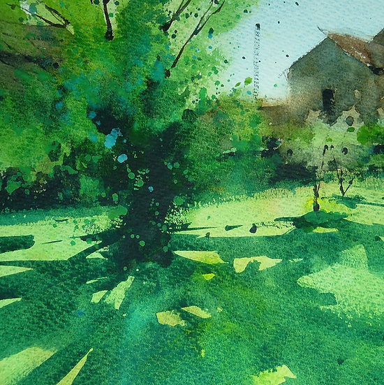 Cool shadows from green summer tree. Greetings card by Paul Talbot-Greaves