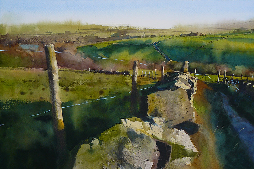 Drystone wall and rolling fields and hills. Painting by Paul Talbot-Greaves