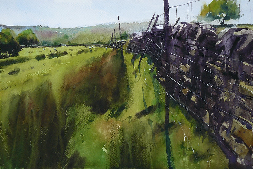 Rough grassland and wall. Painting by Paul Talbot-Greaves