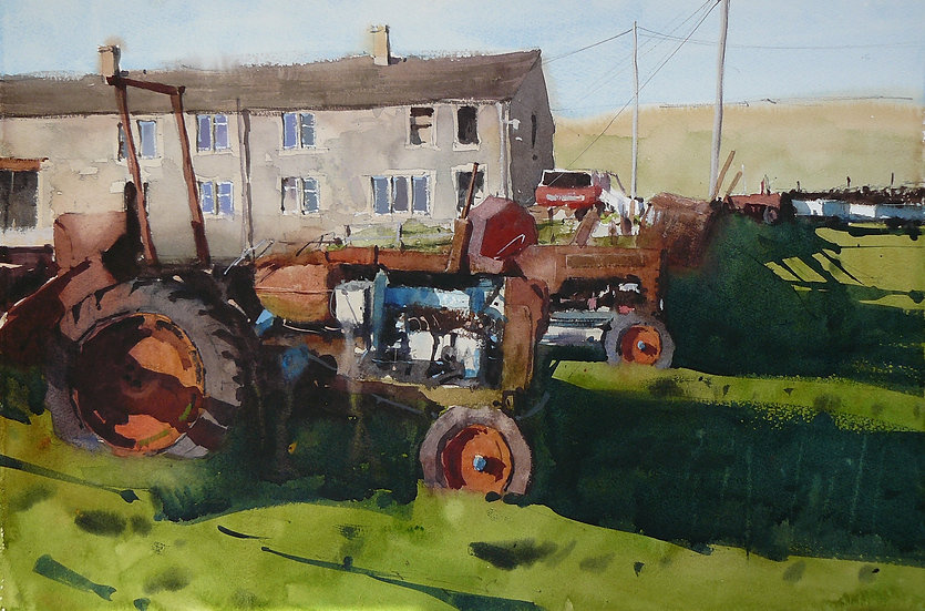 Field of old tractors, farm building behind. Painting by Paul Talbot-Greaves