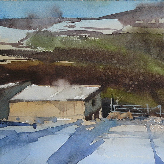 Barn in the snow. Hillside behind. Painting by Paul Talbot-Greaves