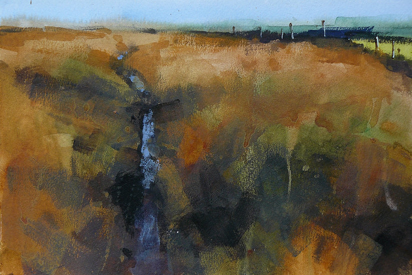 Wet path reflecting light in a moorland scene. Painting by Paul Talbot-Greaves