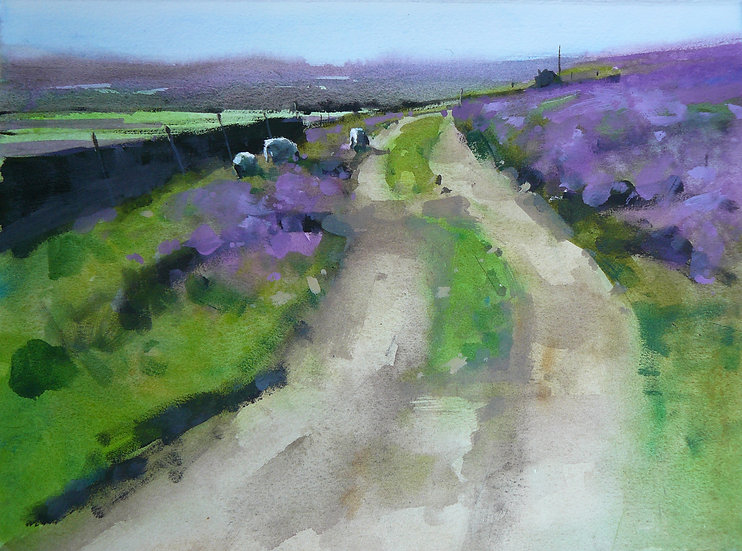 Painting by Paul Talbot-Greaves of a track winding into the distance through purple heather moorland.