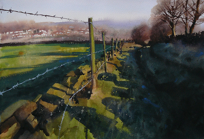 Early morning in winter looking down a lane towards far hills, strong light from the right. Painting by Paul Talbot-Greaves