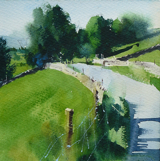 High summer. Road and trees near Keld. Painting by Paul Talbot-Greaves
