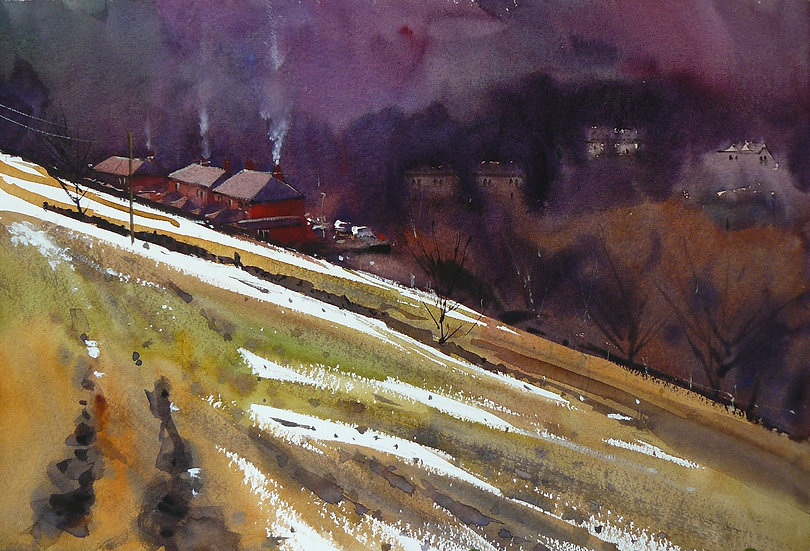 Painting by Paul Talbot-Greaves of smoke rising from the chimneys of houses in the valley.