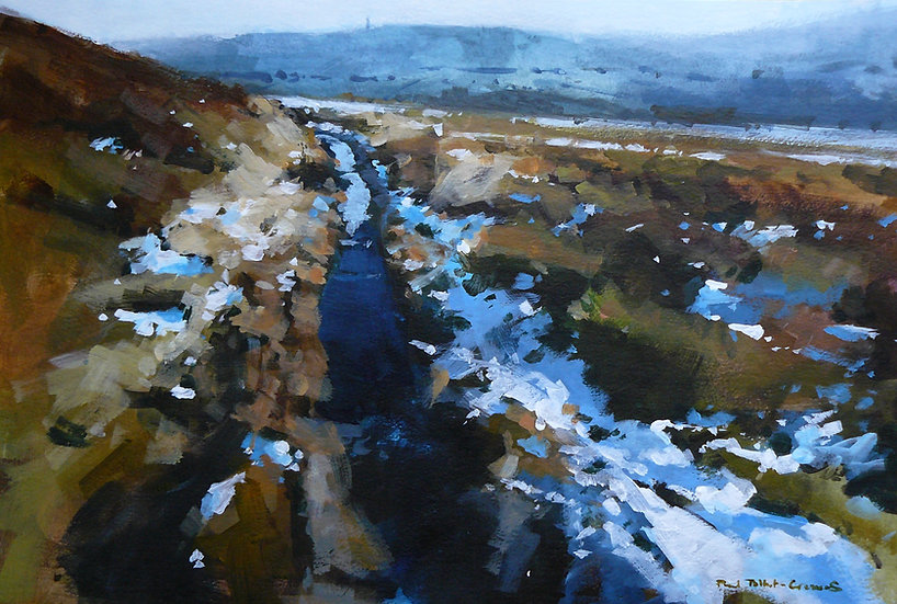 Patchy snow across open moorland. Hills beyond. Painting by Paul Talbot-Greaves