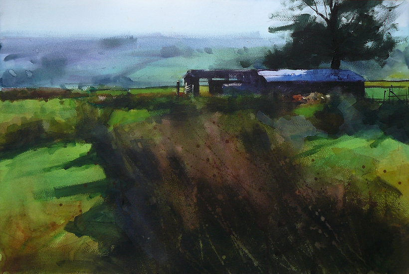 Rushes, old barn with tree, hills beyond. Painting by Paul Talbot-Greaves