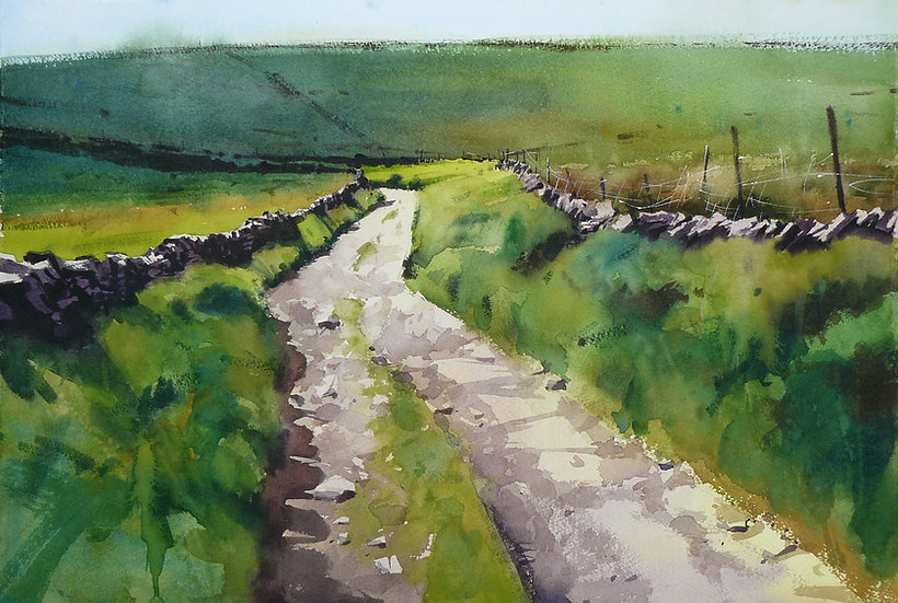 Painting by Paul Talbot-Greaves. Old lane winding through green pastures and walls