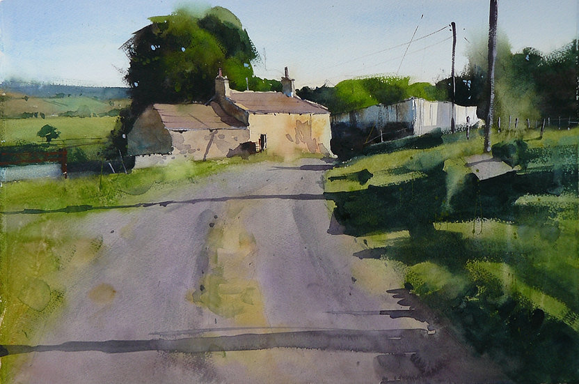 Farm building in evening sun. Painting by Paul Talbot-Greaves