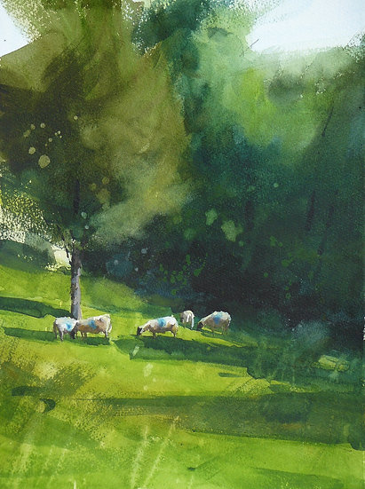 sheep in the shade of summer trees. Painting by Paul Talbot-Greaves