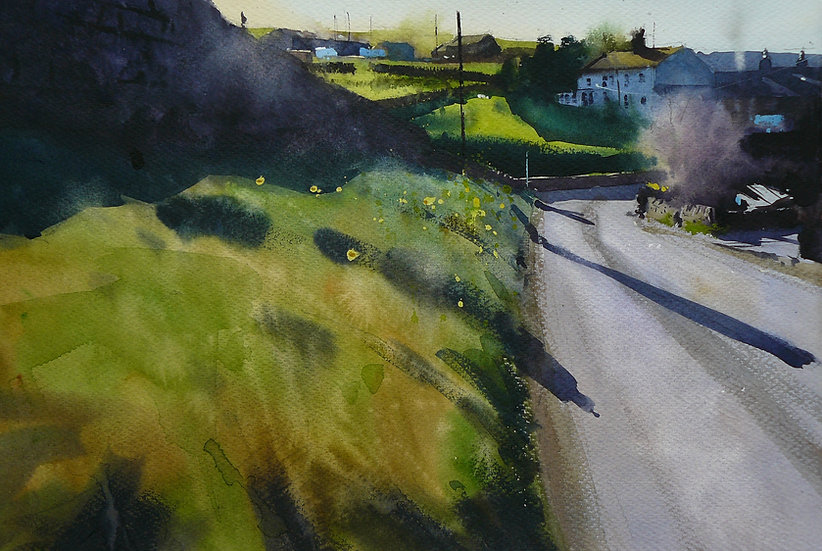Long shadows, spring light with daffodils in landscape. Painting by Paul Talbot-Greaves