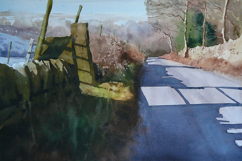 Painting by Paul Talbot-Greaves of strong light streaming through a gateway