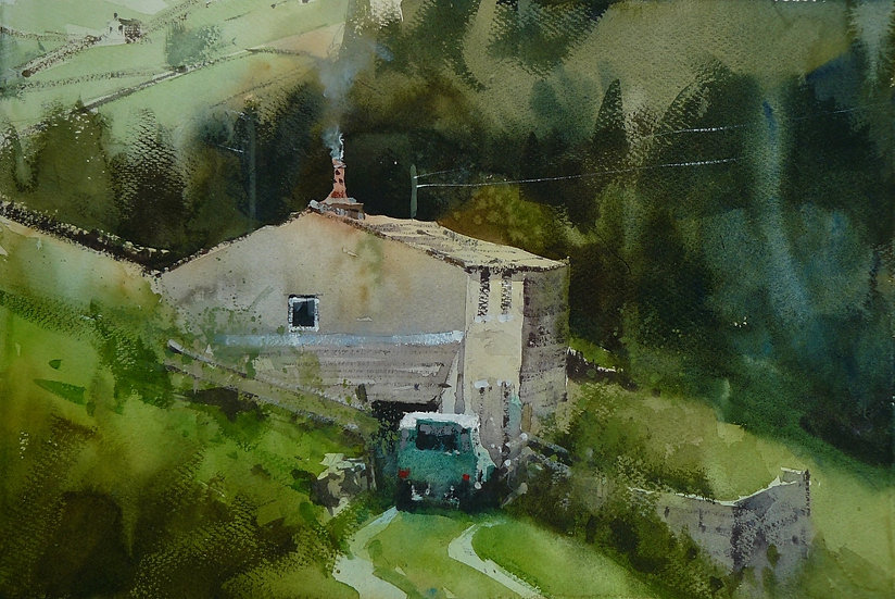 Old building on hillside. Trees behind. Greetings card by Paul Talbot-Greaves