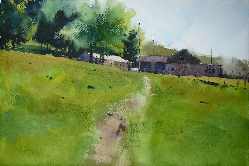 Path through field to farm house. Painting by Paul Talbot-Greaves
