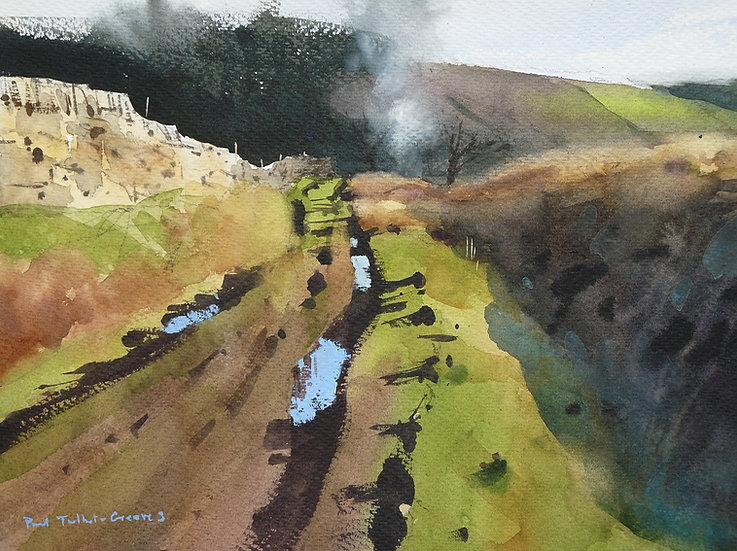 Lane leading towards bonfire smoke. Painting by Paul Talbot-Greaves