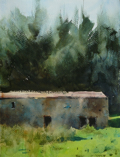 Old Swaledale barn shrouded in trees. Painting by Paul Talbot-Greaves