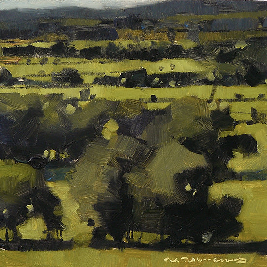 Layers of trees and fields receding to distance. Painting by Paul Talbot-Greaves