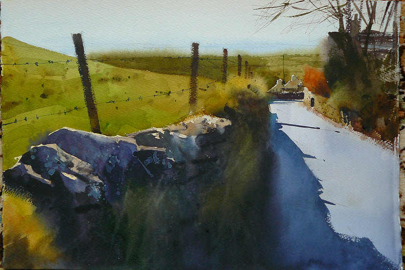 A late winter day with bright sunlight and shadows on a road, near Pendle. Painting by Paul Talbot-Greaves