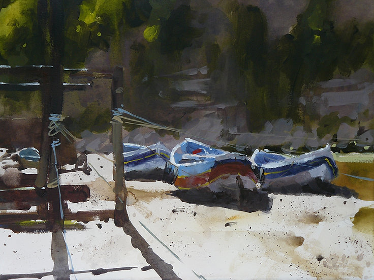 Three fishing boats under shaded cliff. Painting by Paul Talbot-Greaves