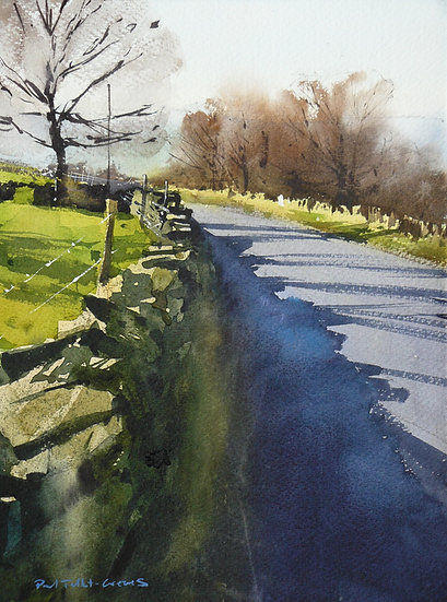 Bright spring light, road and long shadows. Painting by Paul Talbot-Greaves