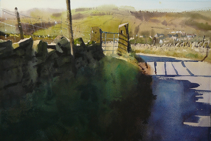 Gate in the foreground with hillside beyond. Painting by Paul Talbot-Greaves
