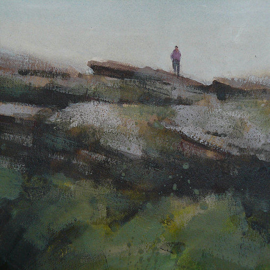 Lone figure standing on top of gritstone outcrop. Painting by Paul Talbot-Greaves